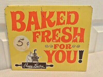 Authentic Vintage Peggy Lawton Cookies Advertising Metal Sign