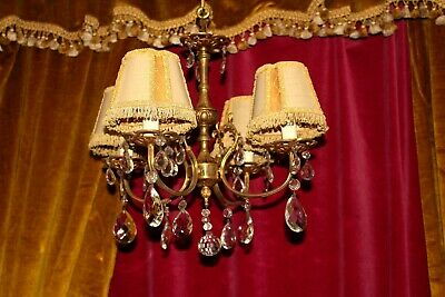 Vintage French Bronze & Crystal Chandelier Ceiling Light Lamp 4 Lights Complete