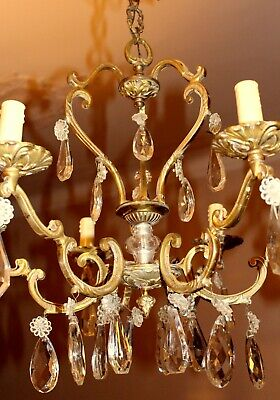 Vintage French Solid Bronze Crystal Vintage French 4 Arms Bird Cage Chandelier
