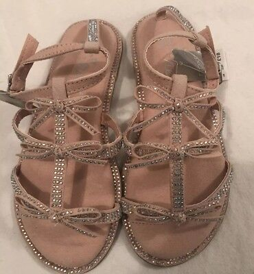 Next Girls Pink Bow Diamante Summer Holiday Sandals Size uk11( Eur 29) BNWT £18