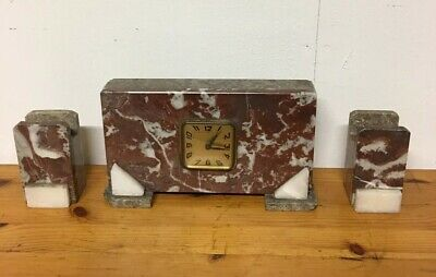 French Art Deco Red Marble Clock & Garnitures , 1920's Decor