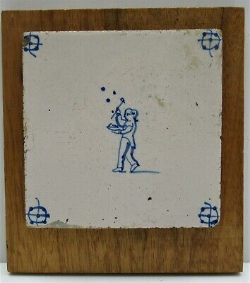 Dutch Delft tile, late 17/early 18th century, man playing ball game, 6 inches