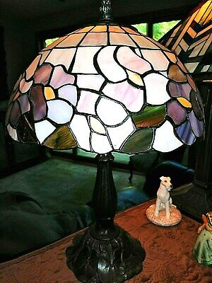 Antique leaded stained glass lamp pink and pastels colors brass base