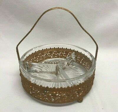 Vtg Gold Filigree Ormolu Vanity Trinket Bowl Divided Glass Dish Bathroom Dresser