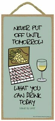 Never Put Off Until Tomorrow What You Can Drink Funny Wood Wine Is Life Sign USA