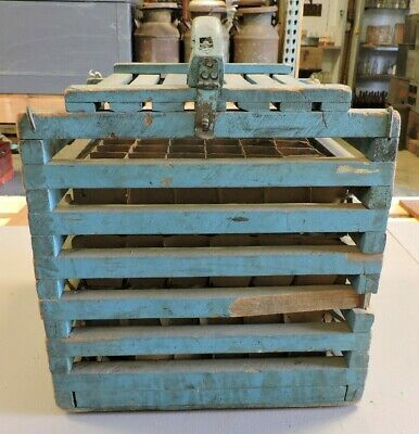 Antique Robin Egg Blue Chicken Egg Crate, Garths, Primitive, AAFA, (VEX)