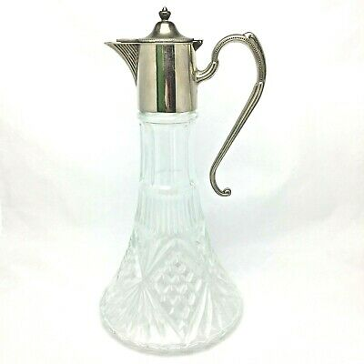 Vintage Jug Decanter Glass E P Zinc Silver Plated Made In England Art Deco