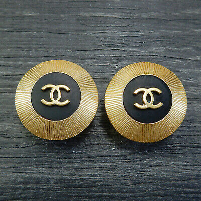 CHANEL Gold Plated CC Logos Black Vintage Round Clip Earrings #4998a Rise-on
