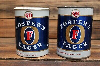Pair Vintage Fosters Lager Beer Advertising Stubby Beer Cooler Holder CUB Sign