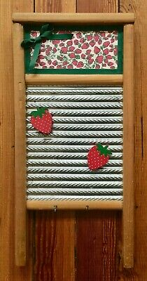 Vintage Washboard Key Hanger Magnets Cute Strawberry Notes Dubl Handi