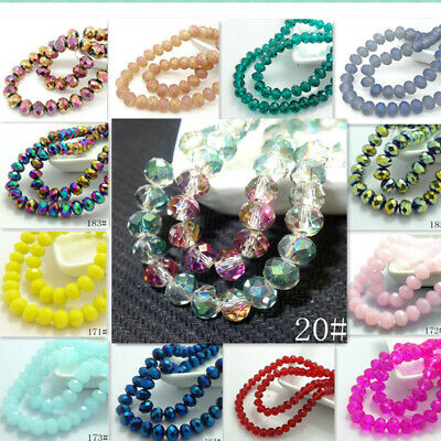 40pcs Rondelle Faceted Crystal Glass Loose Spacer Beads Wholesale 8x6mm