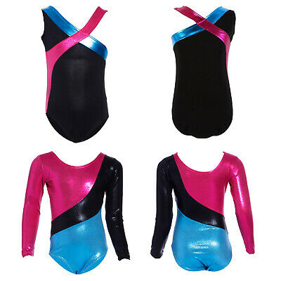 Girls Kids Leotard Dance Gymnastics Ballet Long Sleeve  Sleeveless Leotards