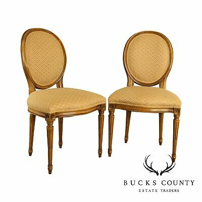 Baker French Louis XVI Style Custom Upholstered Pair Side Chairs