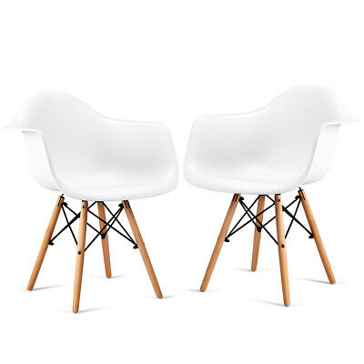 Set of 2 Chair Mid Century Modern Molded White Dining Side Arm Chair Wood Legs