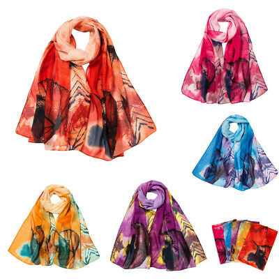 5PC Women Leaves Print Long Wrap Scarf Ladies Chiffon Shawl Scarves Vintage Lot