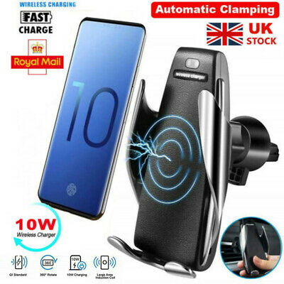 Automatic Clamping  Qi Wireless Car Charger Mount Air Vent Phone Holder UK FF
