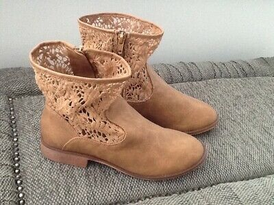 Zara Girls Tan Ankle Boots
