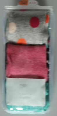 New Baby Girls Grey Pink Green NEXT Tights x 3 Age 6 - 12 Months RRP £13