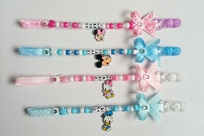 Personalised Dummy Clip Strap Boys Girls Chain Holder Any Name