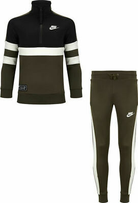 Boys Nike Air Older Kids Half Zip Tracksuit Black/Green AQ9423 325 XS_S