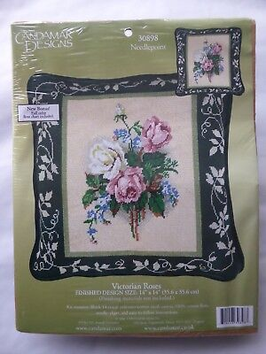 Bnip Candamar Designs Needlepoint Cushion Front Kit Victorian Roses 30898