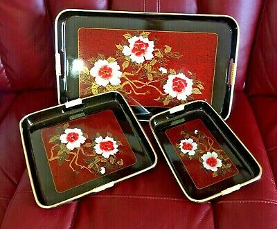 Vintage Japanese lacquer ware nesting tray set of 3 red and gold flower printed