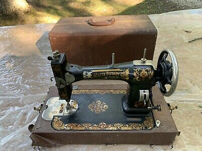 Vintage White Rotary Sewing Machine For Parts/Repair