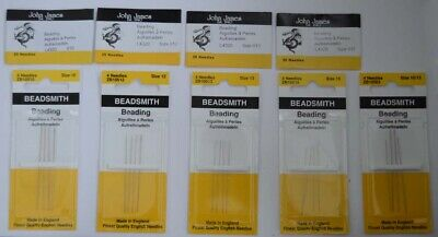 Needles John James Beading Size 10 12 13 15 Packs Of 4 And 25 Needles
