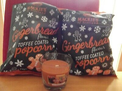 Gingerbread Candle 5oz + 2 bagsToffee Coated Popcorn 170grams Christmas Xmas