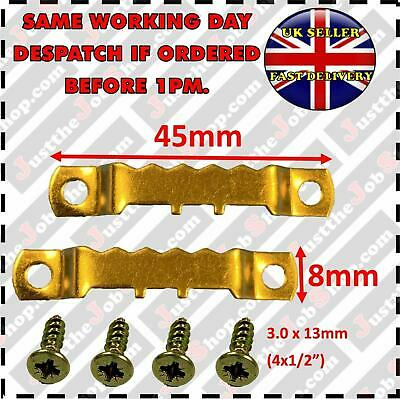 45mm PICTURE SAWTOOTH HANGER & SCREWS BRASSED CANVAS FRAME HOOKS MULTI QUANTITY