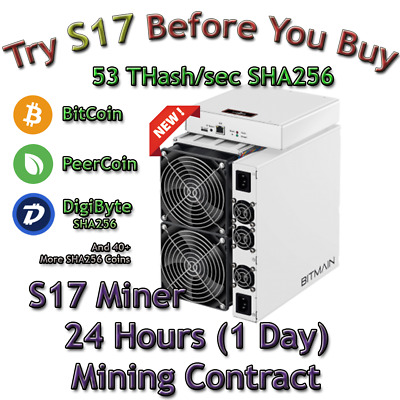Ant Miner S17 Rental. 53 Th Guaranteed 24 Hours Mining Contract Lease SHA256 BTC