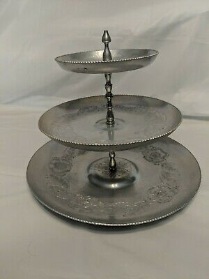 Vintage  Gailstyn Hand Hammered Wrought Iron  Aluminum 3 Tier Serving Tray