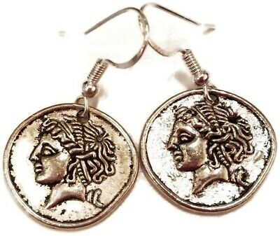 Roman/ancient coin replica earrings. Sterling silver hooks.  1.7 cm.