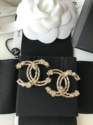 Chanel 19C Classic Brass Gold Tone Big Cc Logo Crystals Pearls Studs Earrings
