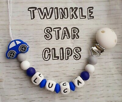 Boys Silicone Personalised Dummy Clip Handmade Babies Chain Pacifier Car Blue