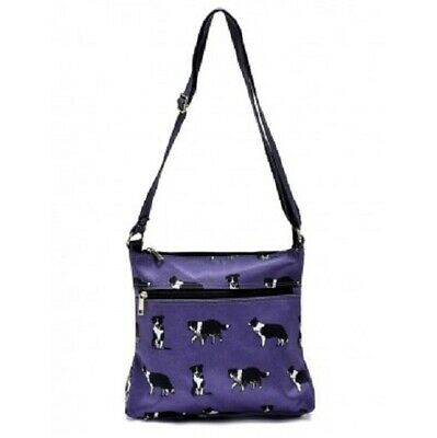 Border Collie Cross Body Messenger Bag With Tri And Black & White Collies