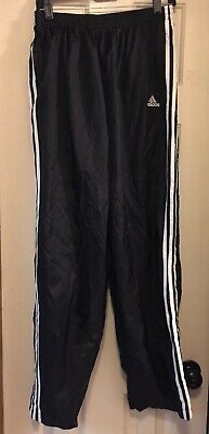 ADIDAS 3 STRIPE black Pants Mens L Tear Away BASKETBALL side snap athletic sport