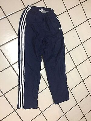 ADIDAS 3 Stripe Pants Blue Athletic Warm Up Track Running Mens M Zip Ankle