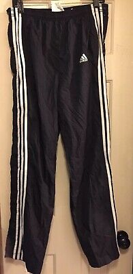 ADIDAS 3 STRIPE black Pants Mens M Tear Away BASKETBALL side snap athletic sport
