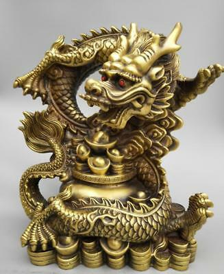 "13"" China Handwork carving pure brass Millennium dragon coin wealth big statue"