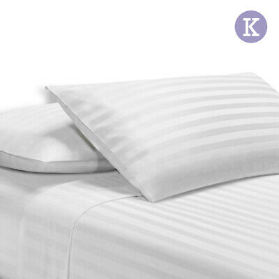 Giselle Bedding 1000TC White Sheet Set Satin Cotton Fitted Pillowcase StripeKING