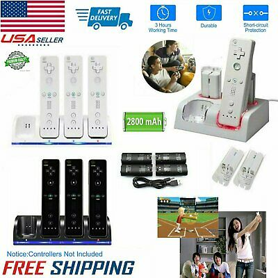 2/4x Rechargeable Batteries Pack+Charging Dock Station For Wii/Wii U Game Remote