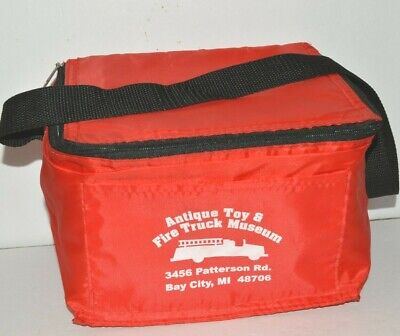 Antique Toy Fire Truck Museum Lunch Box Soft Shell Red Bay City Michigan Fighter