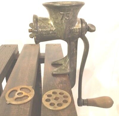 Kwik Kut #75 Antique Cast Iron Meat Grinder With Two Attachments  Wooden Handle