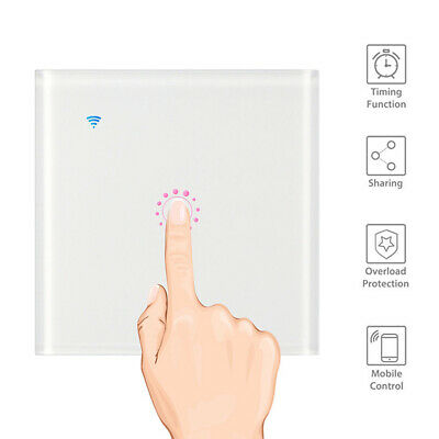 1 Way Touch Wi-Fi Switch Smart Wall Light Remote For alexa home kit