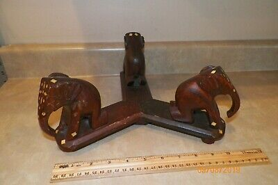 Vintage  Hand Carved 3 Wooden Elephants Stand with Bone Inlay