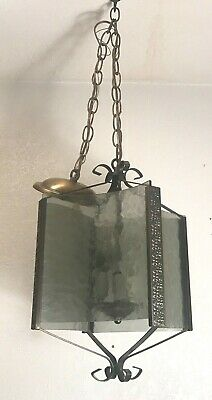 Antique brass plated curved smoked glass ceiling pendant light fixture