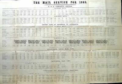 Antique Map 9-815 Shipping - Mail Service to Australia in 1883