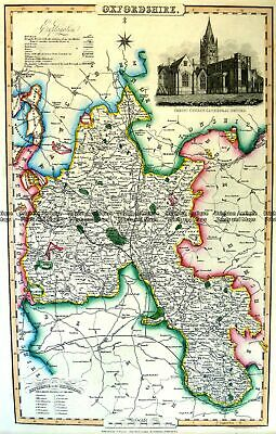 Antique Map 4-193 Oxfordshire England by I. Slater c.1846