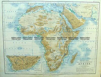 Antique Map 40-15 Africa - Topographical c.1890